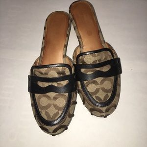 Coach studded brown clogs